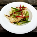 Seared hake with chilli, ...