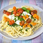 Spaghetti z burratą,...