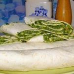 tortille ze szpinakiem......