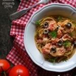 Spaghetti z pieczonymi po...
