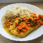 Dorsz curry z groszkiem...