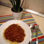 Spaghetti z groszkiem