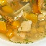 Zupa z kurkami, cieciorka...