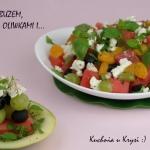Salatka z arbuzem, serem ...