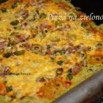Pizza zielona z oliwkami...